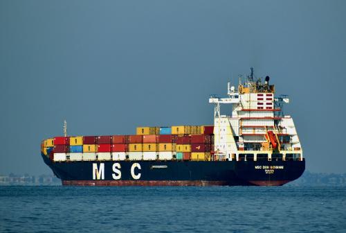 cargo ship, ship, sea